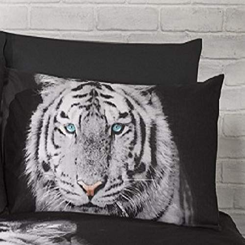 Tiger Animal 3D HD Print Black Gold Quilt Duvet Cover Bedding Set (Double)