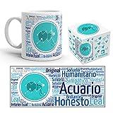 Kembilove Taza de Desayuno Horóscopo Acuario – Taza de café de Signo del Zodiaco de Acuario – Tazas de Café y Té Horóscopo Acuario – Regalo Original para Parejas, Cumpleaños, Amigos