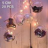 20 x Bolas de Navidad Forma Redonda Plástico Transparente para Decorar el arbol de...