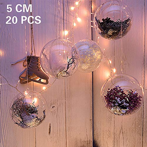 20 x Bolas de Navidad Forma Redonda Plástico Transparente para Decorar el arbol de Navidad (5cm) no Incluye Cuerda