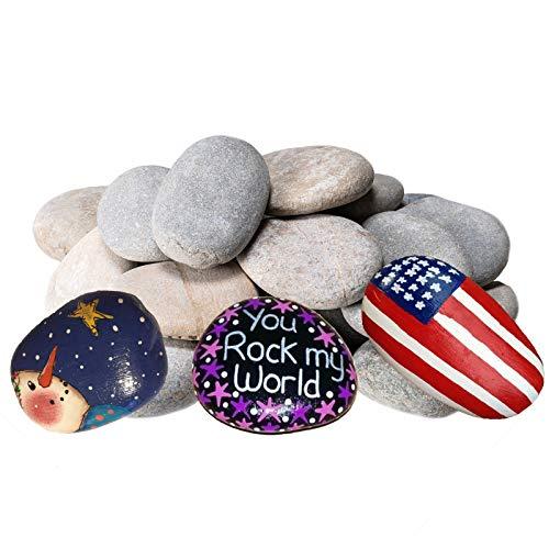 20 rocas de río para pintura, piedras de bondad para bricolaje, artes, 5 a 3.0in, perfectas para proyectos infantiles, manualidades y decoración del hogar.