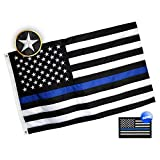 Eugenys Thin Blue Line American Flag 3x5 ft - Embroidered Stars, Sewn Stripes, Heavy Duty 210D Nylon - Free Police Blue Lives Matter Flag Patch Included - Black White Blue USA US Law Enforcement Flag