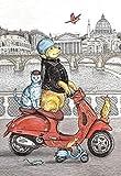 wZUN Cerdo y Caballo conduciendo un automóvil para la decoración de la habitación de los niños Estilo de Dibujos Animados Animal Pared Arte Lienzo Pintura 60x90cm Sin Marco