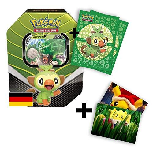 Lively Moments Pokemon Karten Tin Box SCSH01 Schwert und Schild Gortrom V mit 65 Chimpep Hüllen Sammelkartenspiel Deutsch DE / Metallbox + GRATIS Grußkarte