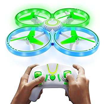 Power Your Fun UFO1 LED Mini Drone for Kids - Small RC Drone for Beginners Hand Operated Drone with 3 Flying Modes 3 Speeds 360 Flips Altitude Hold Remote Control and 2 Drone Batteries
