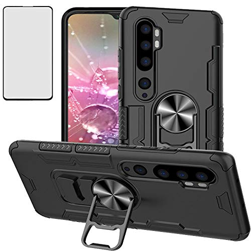 Luosunstar for Xiaomi Mi Note 10/Mi CC9 Pro/Mi Note 10 Pro Case & Tempered Glass Screen Protector,Metal Ring Bottle Opener Kickstand Rugged AHeavy Duty Anti-Scratch Dual Layer Shockproof Case,Black