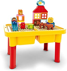 Iddefee Kid Activity Table Children's Building Blocks Blocks Educational Toys Children's Table Toy Table Game Table Play Table for Kids,Boys,Girls (Color : Yellow, Size : 30.5 x 45cm)