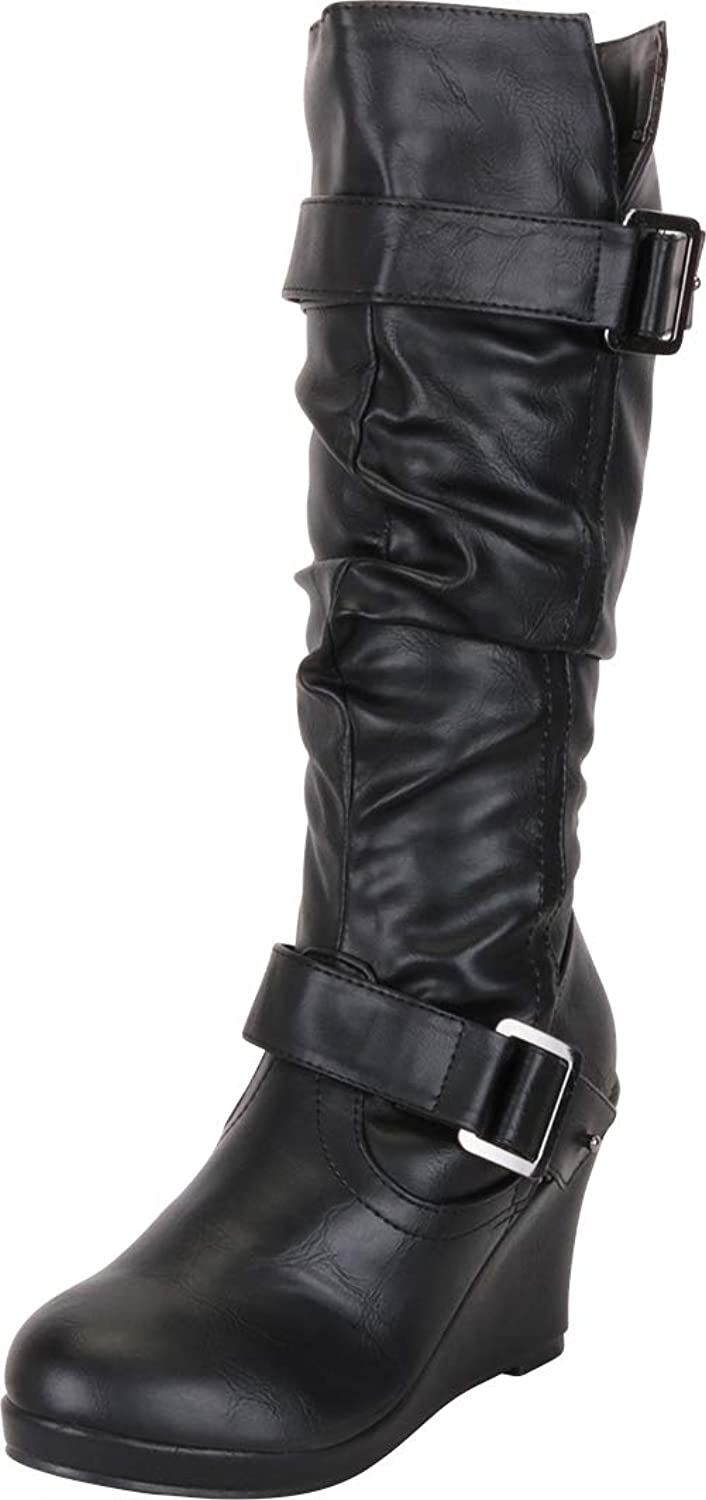 Cambridge Select Women's Strappy Chunky Wedge Mid-Calf Boot