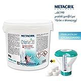 Metacril Cloro Piscina Multiacción en Pastillas de 20 g. + Dosificador - CHLOR Net 20 4 acciones 5 kg + Dosificador Flotante con termómetro - para Piscina e hidromasaje. Envío inmediato.
