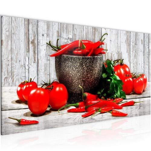 Bilder Küche - Gemüse Wandbild 100 x 40 cm Vlies - Leinwand Bild XXL Format Wandbilder Wohnzimmer Wohnung Deko Kunstdrucke Rot 1 Teilig - MADE IN GERMANY - Fertig zum Aufhängen 005812b