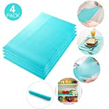 Jewelvwatchro 4 Packs Fridge Pads, Waterproof Refrigerator Mats Fridge Liner Shelf Mats Table Mats for Shelves, Cabinets Storage Kitchen and Placemats