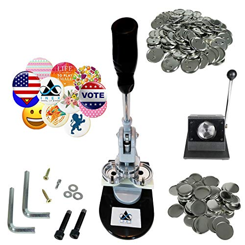 Button Maker Badge Making Machine 58mm (2¼ inch) | Heavy Duty Circle Cutter Punch Press | 1,000 Circle Button 58MM (2¼ inch) Parts - Metal Badge Button Shell & Pin Back | All-in-One Complete DIY
