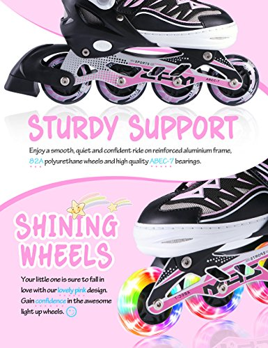 2pm Sports Cytia Adjustable Light up Inline Skates,Roller Blades for Girls, Flashing Kid Rollerblades for Boys and Girls - Pink L(2-5)