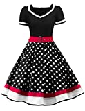 Sofkiny Women's Puffy Sleeve Polka Dots Patchwork Vintage 1950s Rockabilly Swing Dress with Belt