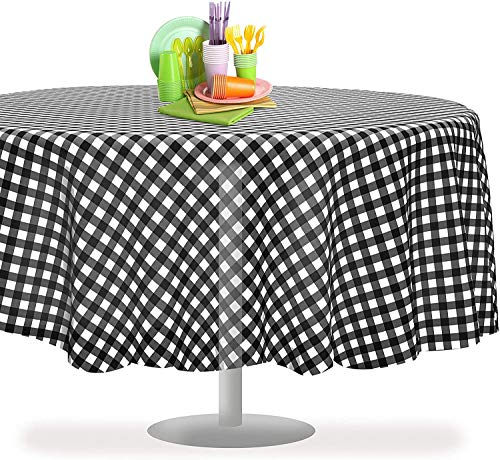 Black Checkered Gingham 12 Pack Premium Disposable Plastic Tablecloth 84' Inch Round Checkered Racing Flag Table Cover By Grandipity