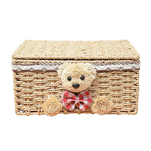 Cotton Rope Woven Storage Basket, Dirty Clothes Storage Basket with Lid and Lining Desktop Storage Basket (Color : A)