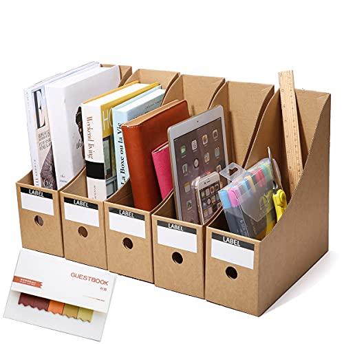 Zeitschriftenhalter Stehsammler Pappe 5 Stk., Zeitschriftenständer A4 Datei Ordner Stehordner Aktenhalter Datei Füllregal Box Papierkram Organizer Stifthalter Desktop Schreibwaren Aufbewahrungsbox