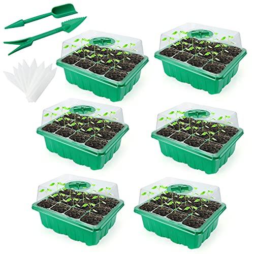 Sinwind Bandeja Semillas, Bandejas de Semilleros Bandeja de Plántulas Caja de Plántulas de 12 Agujeros, Bandeja de Germinacion para Semillas con Cúpulas Ventiladas de Humedad (Verde)