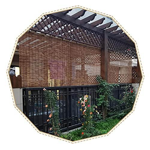 Suwooy Persianas De Caña Natural Carbonizada,Cortina De Paja,Estor Enrollable De Bambú,persianas Enrollables Aislamiento Térmico,utilizadas en Balcones,Jardines,Exteriores,W×H-70x150cm/28x59in