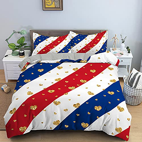 Nordic Modern Home Textiles Bedding Set Small Fresh Golden Love Pattern Stripe Duvet Cover Queen King Size Soft Comforter Set Double Single The Comfy for Girl Boy Teens Adult,Queen