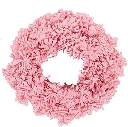 Dasing Pink Wreath Artificial Pine Wreath Garland for Front Door Window Wall Wedding Fireplace Home Decoration 12 Inch