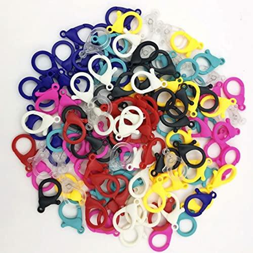 Fmaoltkk 20pcs Set Candy Color Acrílico Cierre de langosta Cadena Larga Conector para Pulsera Collar Llavero Joyería Accesorios (blanco)