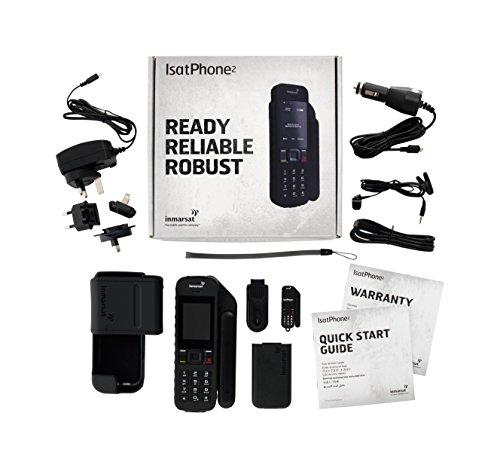 Teléfono satélite IsatPhone 2.1 desbloqueado 2019 con tarjeta SIM prepago de 100 unidades (77 minutos/validez 90 días) - Voz, SMS, seguimiento GPS, cobertura global SOS de emergencia - Resistente al agu