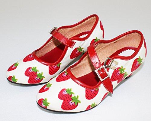 KAMACA Schöne Leder - Schuhe Erdbeere Gute Passform, Elegantes und festliches Aussehen, universell einsetzbar - für Mädchen und Damen (Leder Tanz - Schuhe mit 3,5 cm Absatz, 36)