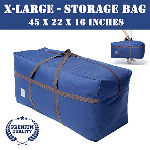 Large Blue Duffel Storage Bag - Premium-Quality Heavy Duty 600D Polyester Oxford Cloth with Handles and Reinforced Seams - 45' x 16' x 22' Inches (114 x 40 x 55 Centimeters)
