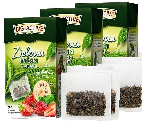 BIG-ACTIVE Té verde en bolsitas de té con lima, bergamota, graviola, HERBAPOL, 3 x 20 bolsitas x 1,5 g, refresca la mente, favorece la digestión, favorece la pérdida de peso