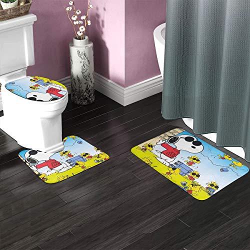 Bath Rug Sets 3 Piece for Bathroom Non Slip Bath Mat Set Snoopy Bath Rug Set Contour Mat, Mat and Lid Cover