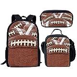 Nopersonality Lot de 3 Sacs à Dos pour école Primaire et Maternelle Motif Ballon, Rugby School Bag Set (Marron) - Nopersonality