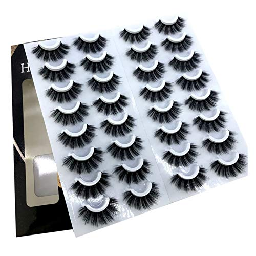 WBFN 16 Pares Pelo 3D Falso pestañas del Maquillaje Natural/Largo Grueso de pestañas Etéreo Instrumentos de extensión de Belleza (Color : 3DF008)