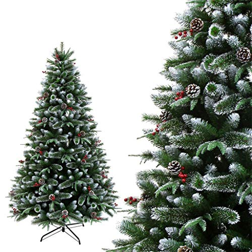 GJXJY Christmas Ornaments Artificial Tree, Indoor and Outdoor Flocking Snowflake Pine Cone Decorations, Christmas Pine Tree Decorations, Easy Assembly180cm/6ft