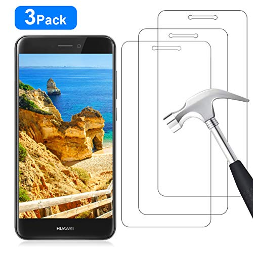 YIEASY 3 Piezas Protector de Pantalla para Huawei P8 Lite 2017, Sin Burbujas [3D touch/9H Dureza] [Anti arañazos] [Fácil de Instalar] Cristal Vidrio Templado para Huawei P8 Lite 2017 - Transparente