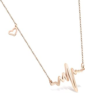 18k Rose Gold Plated Stainless Steel EKG Heartbeat Love Cardiogram Necklace Jewelry for Women