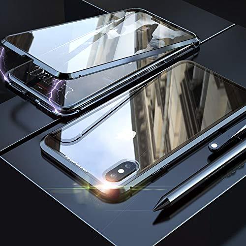 Eabhulie Huawei Honor View 20 Hülle, Vollbildabdeckung Gehärtetem Glas mit Magnetischer Adsorptionskasten Metall Rahmen 360 Grad Komplett Schutzhülle für Huawei Honor View 20 Schwarz - 3