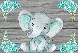 Yeele 7x5ft Calf Elephant Baby Shower Photo Booth Photography Backdrop, Green Watercolor Flowers Wooden Wall Party Banner Decoration Background Girl Boy Portrait Shooting Studio Props Wallpaper