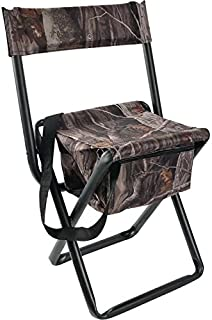 Allen Company - Camouflage Folding Hunting Stool with Back and Storage - Strong Steel Legs - Next G2-14 L x16.75 W x 29 H inches