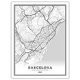 SKLHSIL Impresión De Lienzo, Moderna Wall Arte España Barcelona Mapa Ciudad Blanco Y Negro Mural Simple Pared Pintura Póster Para Oficina Sala Estar Hotel Hogar Espacio Decoración 60X80