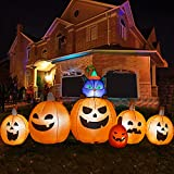 HOOJO 9 FT Long Halloween Inflatables Pumpkin with Witch's Cat Outdoor Halloween Decorations with Build-in LEDs, Blow up Halloween Decorations for Yard, Garden, and Lawn