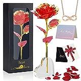 Oryidr Eternal Rose con Base en Forma de corazón y Tarjeta de felicitación, Collares de niña,, niñas, Esposa, cumpleaños,día de la Madre (Rojo)