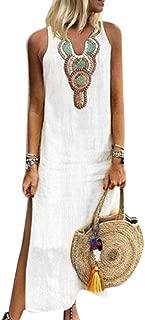 soAR9opeoF Summer Women Paisley Print V Neck Sleeveless Split Maxi Linen Loose Kaftan Dress White M