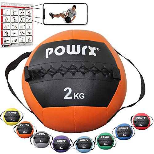 POWRX Wall Ball Asas Laterales 2 kg - Ideal Ejercicios