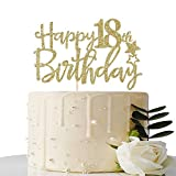 Gold Glitter Happy 18th Birthday Cake Topper,Hello 18, Forever 18 Party Decoration