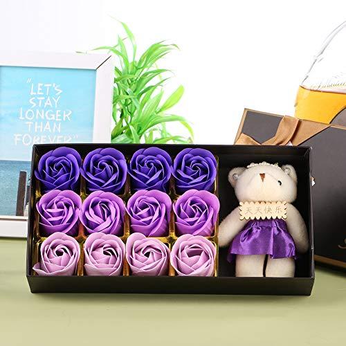 Oumefar con Oso muñeca Flor de jabón Paquete Exquisito jabón Rosa Creativo 12 Piezas romántico cumpleaños(Purple Gradient)
