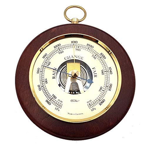 """Fischer Barometer Pascal, Brass-Mahogany 5.5""""/140 mm - 1366R-22 (Display English)"""