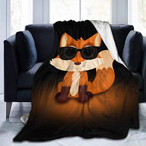 Mantas de lana de franela de moda, 50 x 60 pulgadas, Cool Fox con gafas de sol, color naranja, diseño de animales, manta para un mejor relajante reclinable manta de aire acondicionado y fácil grueso