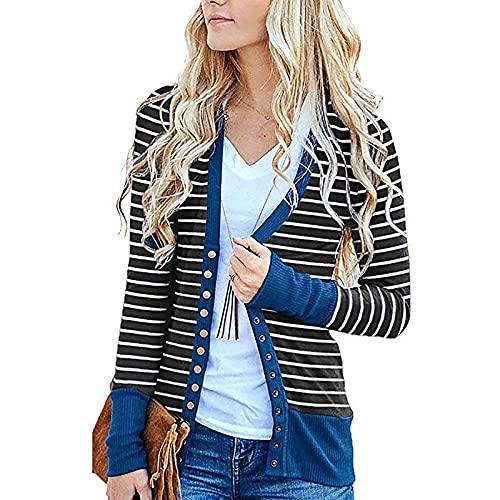 XOXSION Abrigo de mujer de verano, informal, a rayas, pespuntes de manga larga, chaqueta de punto, ajuste elegante, chaqueta de negocios azul M