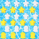 24 Pieces Oil Absorbing Sponge Animal Shape White Yellow Absorbing Scum Sponge for Swimming Pool, Hot Tub and Spa, Scum Slime Cosmetic Cleaning Supply, Turtle-Shaped, Octopus-Shaped, Starfish-Shaped